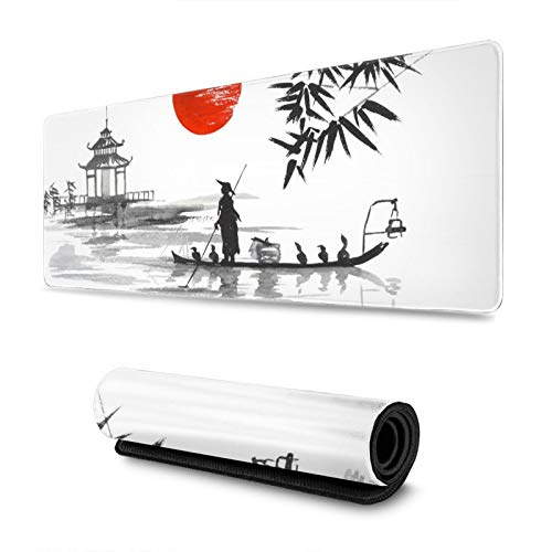 Japanese Painting Sumie Art Ink Gaming Mouse Pad, Long Extended XL Mousepad Desk Pad, Large Non Slip Rubber Mice Pads Stitched Edges, 31.5'' X 11.8''