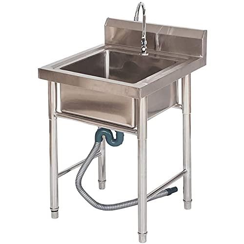 Fregadero comercial de Citchen, fregadero de catering con grifo, fregadero de acero inoxidable independiente para cocina y restaurante/A / 0.6mm