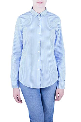 Tommy Hilfiger Damen TH Essential Shirt LS W2 Hemd, Blau (Soft We STP Yd/Ultramarine...