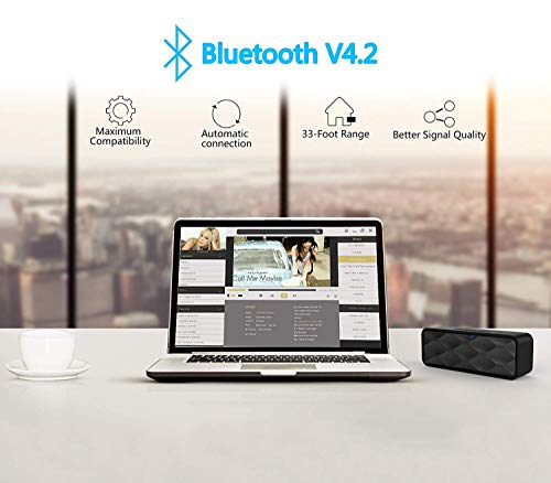 Wireless Bluetooth Speaker, Outdoor Portable Stereo Speaker with HD Audio and Enhanced Bass, Built-in Dual Driver Speakerphone, Bluetooth 4.2, Handsfree Calling, TF Card Slot - Black 5