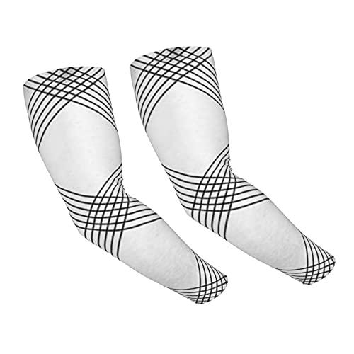 Protección UV Mangas de brazo,Tartán Negro Blanco Cuadros abstractos Protección solar Deportes Enfriamiento Compresión Mangas de brazo Cubierta Actividades al aire libre Mangas de sol