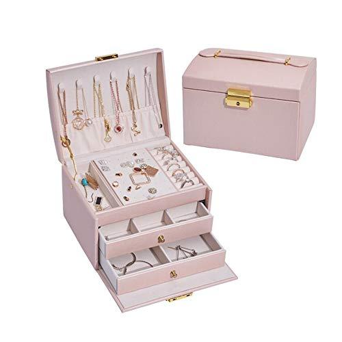 LXQLLJJD Caja de Almacenamiento de Joyas de Cuero, 3 Capas de Mano con cajones y Ornamentos de Bloqueo Organizador para Pendientes, Anillos, Collares, Pulseras,Rosado