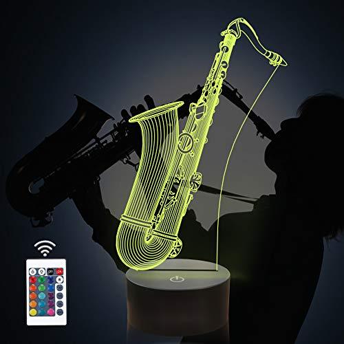 CooPark Saxophon 3d Lampe Coopark Illusion Nachtlicht, dimmbar 16 Farbwechsel Smart Touch, Magic Saxophon Tischlicht Dekoration Geschenk für Musikliebhaber Jungen Männer