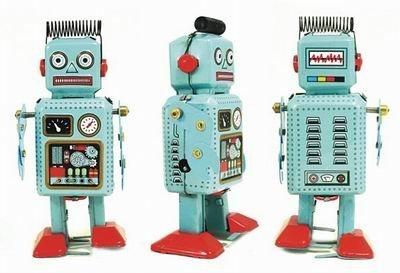 Ralph Robot - Blue Radar Robot Tin Toy Collectible by Robot Tin Toys