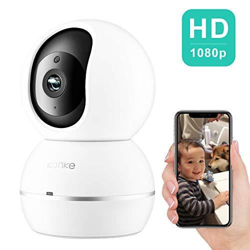 Cámara IP WLAN, Konke HD 1080P, cámara de vigilancia IP, giratoria con detección de Movimiento, visión Nocturna y Audio de 2 vías, Compatible con Android iOS, Color Blanco