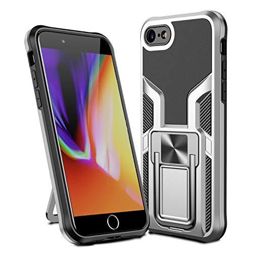 MOONCASE Funda para iPhone 7, Ultra Delgada Silicona Suave TPU Bumper Antichoque Funda Montaje Magnético del Coche Funda para iPhone 7 4.7' - Plata