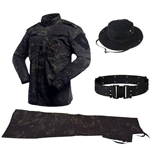 QHIU Taktischer Uniformen Herren Jacke&Hose Stück Sets mit Gürtel&Boonie Hat Military Combat BDU Camo für Airsoft Paintball Swat Camping Outdoor-Sportarten