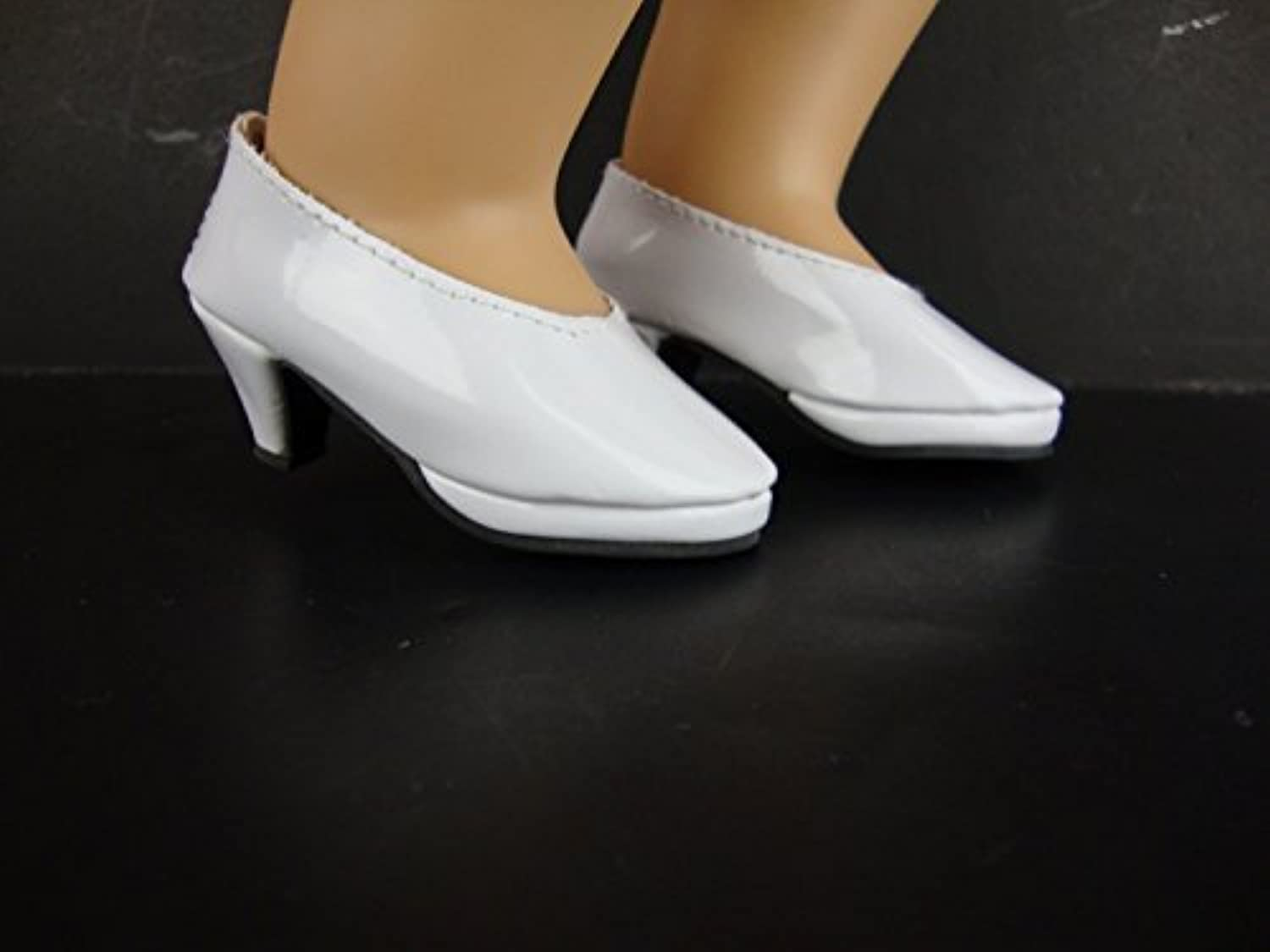 Shiny White High Heeled shoes for the 18 Inch Doll Made for the American Girl Doll by Olivia's Doll Closet