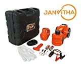 Janvitha DC 12V 3 Tons Electric Hydraulic Car Jack 4 - in - 1 Car Repair Tool Kit for Electric Car Jack and Electric Impact Wrench Set for All Cars Use - 12 Months Warranty (Height upto 450mm)