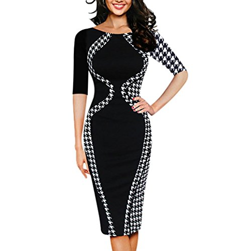 TUDUZ Damen Elegant Faschingskostüme Bodycon Kurzarm Party Business Style Pencil Minikleid Abendkleid (Schwarz, M(EU 38))