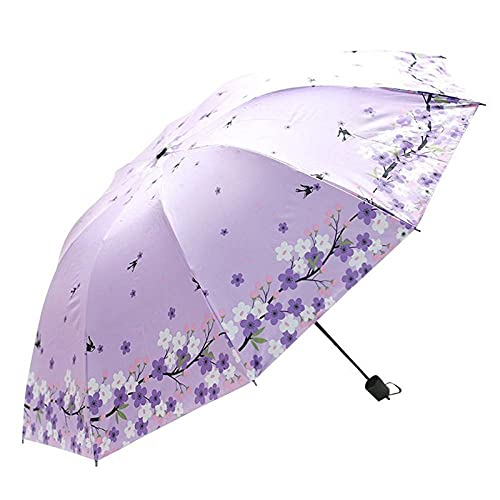 JHBFZXX Sombrilla plegable resistente a la lluvia y al viento para exteriores, resistente y duradera Novia simple paraguas vintage-Primavera rama completa - púrpura