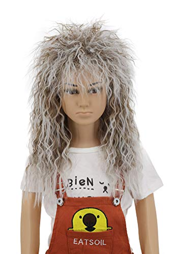 Yuehong Long Curly Rock Star Style Wigs Halloween Cosplay Wig Anime Costume Wigs(Kids)