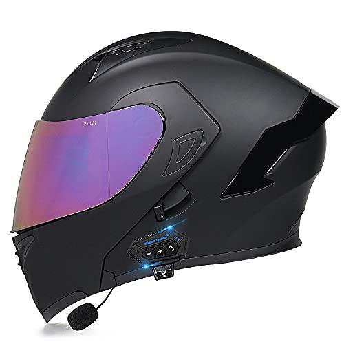BDTOT Casco de Moto Modular Bluetooth Integrado Dot/ECE Homologado con Doble Visera Cascos de Motocicleta a Prueba de Viento para Adultos Hombres Mujeres Cruceros Locomotora
