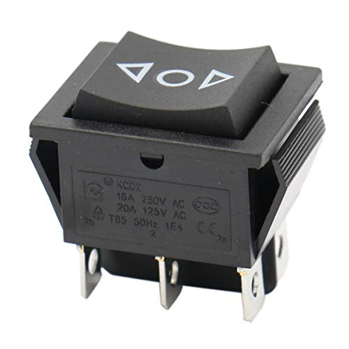 Baomain Momentary 6 Pin DPDT Button On/Off/On Rocker Switch AC 250V/10A 125V/15A Black Plastic Dpdt Momentary Switch Type