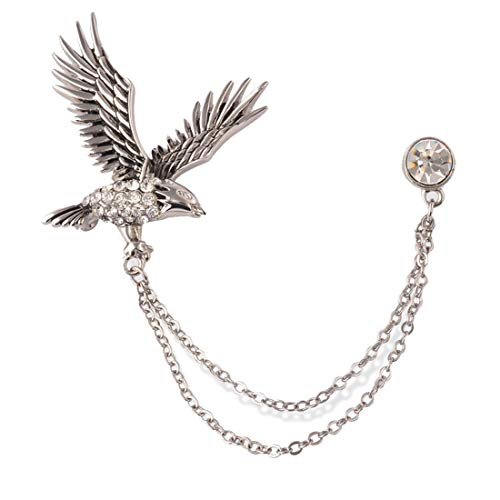 S&E Men's Elegant Lapel Pin Badge with Chains Brooch Pin for Suit Tuxedo (Eagle)