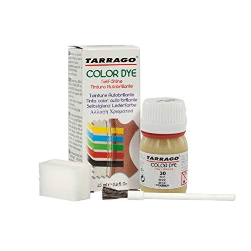 Tarrago | Self Shine Color Dye 25 ml | Tinte Para Cuero y Lona de Acabado Brillante Para Teñir Zapatos y Accesorios | Tintura de Secado Rápido Para Reparar el Calzado | Anti Rozaduras (Beige 30)