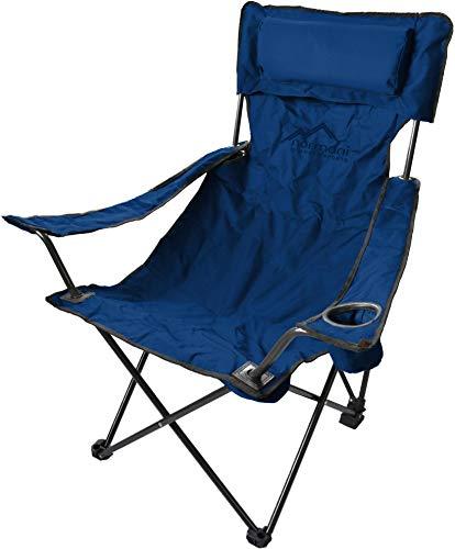 normani Campingstuhl Faltstuhl Klappstuhl Anglerstuhl Getränkehalter Stuhl Gartenstuhl für den Sommer Farbe Deluxe/Marine