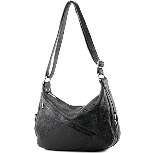 modamoda de -T164 - ital Schulter-/Umhängetasche aus Leder, Farbe:Schwarz