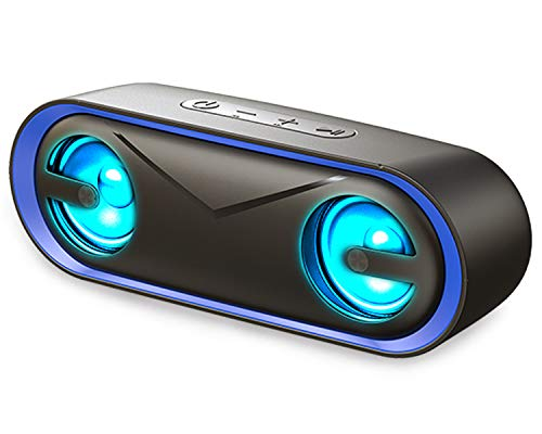 Bluetooth Speaker with LED lights, LENRUE 10W Portable Outdoor IPX5...