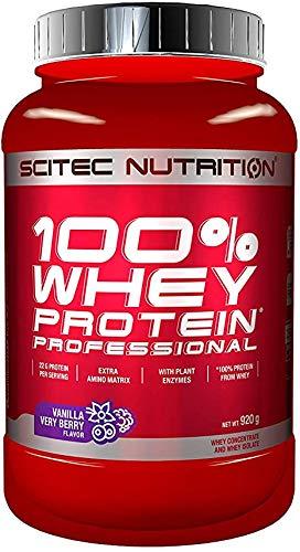 Scitec Nutrition 100{e5f3260c2b693d29daa19e6b0dd9954343be18416ab26298abf24a6056e80e16} Whey Protein Professional 920g Dose Vanille/heidelbeer