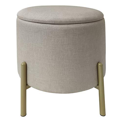 ECHTWERK Sitzhocker Logan mit hochwertigem Oberflächenbezug aus Polyester, Aufbewahrungsfunktion, 40 x 40 x 40 cm, bis 150 kg, Creme