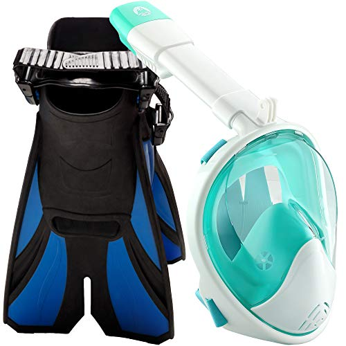 cozia design Snorkel Set with Snorkel MASK - Swim FINS Included - Snorkel MASK Full FACE with Adjustable Flippers - 180° Panoramic View Full face Snorkel mask and Open Heel Snorkel fins
