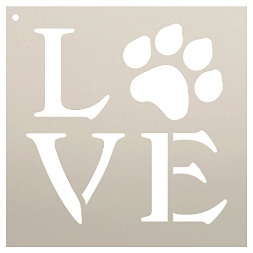 Love Stencil by StudioR12 | Square Paw Print Word Art -Reusable Mylar Template | Painting, Chalk, Mixed Media | Use for Journaling, DIY Home Decor-Animal Lover-Choose Size (9 x 9)