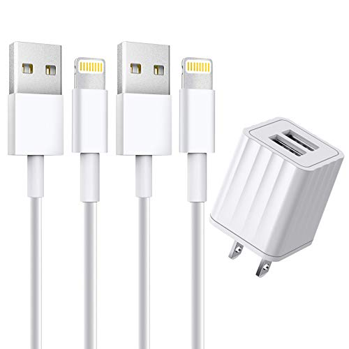 [Apple MFi Certified] iPhone Charger, Stuffcool 2 Pack 6FT Lightning Cable Fast Charging Data Sync Transfer Cord with Dual Port USB Wall Charger Plug Compatible with iPhone 12/12 Pro/11/XS/XR/X/8/iPad