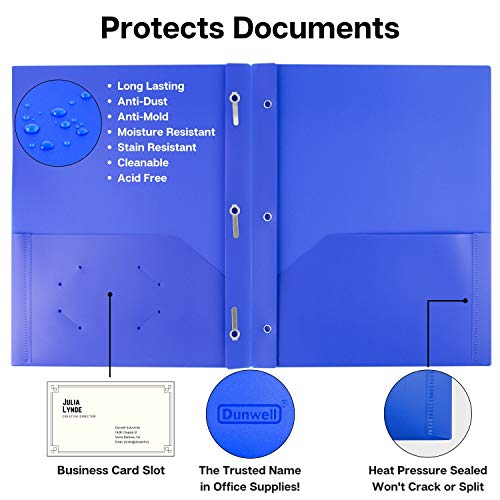 Dunwell Pocket Folders with Prongs - (12 Pack of Blue Folders) Heavy Duty Plastic Folders with Fasteners, 2-Pocket Folders for School, Letter Size Color Folders with Pockets, Includes Removable Label Photo #6