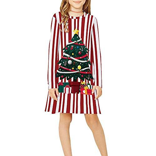 Vestido para Niñas Navidad,Chickwin Conjunto Niña Cuello Redondo Poliéster Ropa Nacido Casual Manga Larga Vestidos Niña Ceremonia Regalo para 9-12 Años (Árbol de Navidad Rayado,L: 155-165cm)
