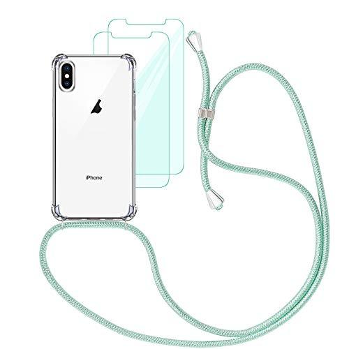 Yohii Funda con Cuerda Compatible con iPhone X/XS y [2 Pack] Cristal Templado Protector de Pantalla, Carcasa Transparente TPU Suave Silicon Colgante Ajustable Collar - Verde