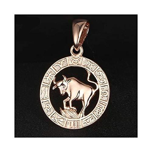 CHENGTAO Signo Zodiacal Cadena Color Oro Rosa Blanca constelación de Capricornio Géminis Colgantes Collar Trenzado Hombres de Las Mujeres de la joyería Accesorios (Metal Color : Taurus 1)