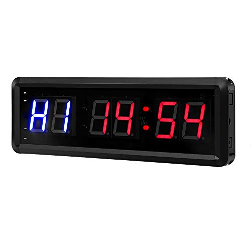 "Seesii Interval Timer Count Down/Up Clock, 1.5"" Digits LED Gym Timer Stopwatch with Remote for Home Gym Fitness Workouts Garage"