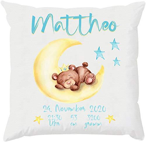 EZYshirt® Personalisiertes Kissen als Geburts- oder Taufgeschenk | niedlicher Teddybär | Babygeschenk Jungen & Mädchen
