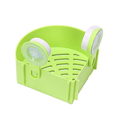 QFWM Estante de ducha triangular para colgar en la pared del baño con ventosa, estante de almacenamiento esquinero (tamaño: 7,5 x 14,5 cm), color verde