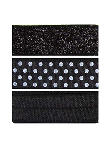 Cousin DIY Monochome and Polka Dots Fold Over Elastic Wide Band Ribbon, Includes 6 Packs, Black