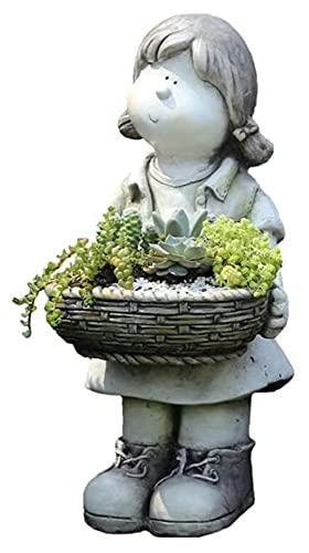 WQQLQX Statue Gartenskulptur Blumentopf Mädchen Statue Cartoon Charakter Pan Figuren Outdoor Garten Dekoration Zubehör Handkörperschmuck 47x21cm Skulpturen