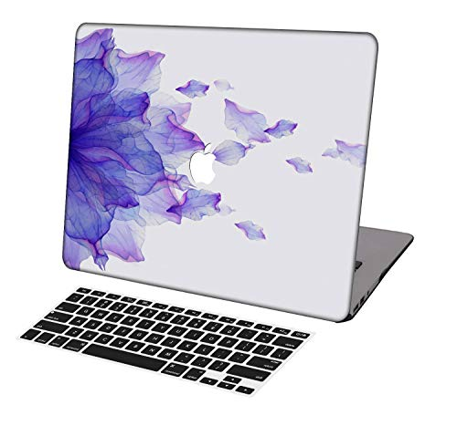 KSK KAISHEK Laptop Case for Newest MacBook Pro 13 inch A2289/A2251/A2159/A1989/A1706/A1708,Plastic Ultra Slim Light Hard Shell Keyboard Cover for MacBook Pro 13 inch,Purple Flowers Watercolor