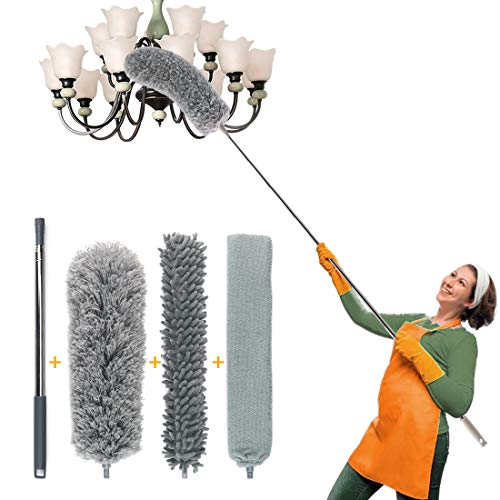 Telescoping Microfiber Duster Kit for High Ceiling and Gap Cleaning, 1 Extra Long Stainless Pole and 3 Multifunctional Duster, Washable Cobweb Duster, Bendable & Flexible Dusting Head