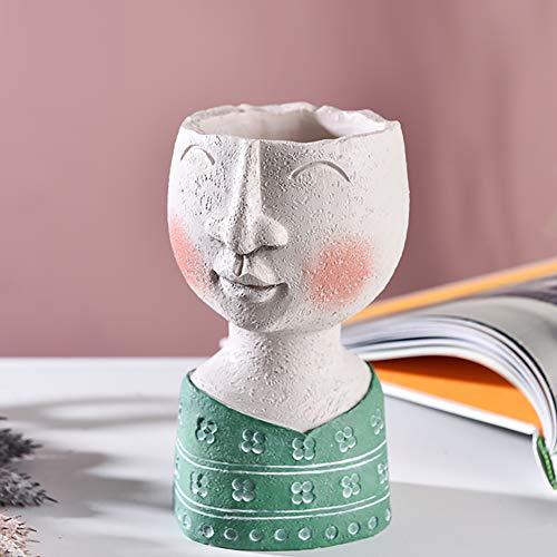 WZR Résine Pot De Fleur Vase,Visage Vase Accueil Jardin Décoratifs Famille Art Sculptures pour Intérieur Extérieur,Modernes Ornements Statue Tête Planteur Happy House - Little Girl