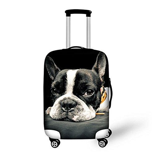 HUGS IDEA French Bulldog Print Spandex Elastic Travel Luggage Protector Suitcase Cover for 26/28/30 Inch