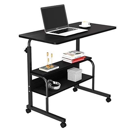 Dripex Schreibtisch Beistelltisch Schwarz Computertisch mit Rollen Laptoptisch Höhenverstellbar PC Tisch 80 x 40 x 90 cm