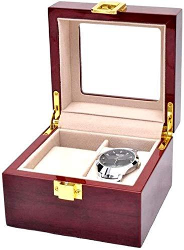 Caja de reloj Ventana transparente Caja de presentación de joyería con tapa Almohadilla extraíble para hombres o mujeres Soporte de caja de reloj 2 Colección de organizador de exhibición