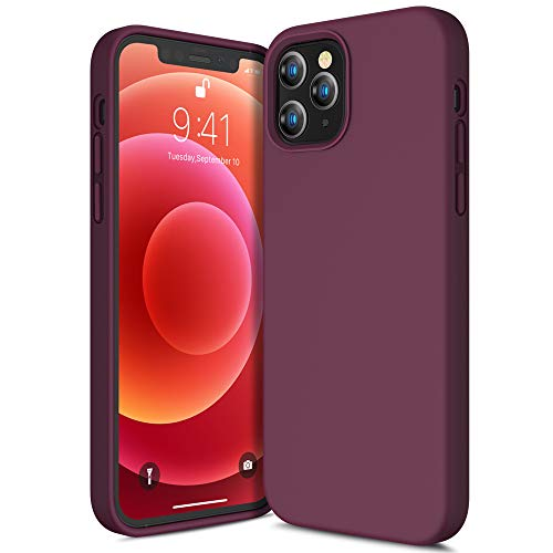 CANSHN Liquid Silikon Hülle Kompatibel mit iPhone 12 & 12 Pro 2020, Seidig Weiche Matte Gel Gummi mit Samtiger Microfaserinnenfutter Stoßfest Vollkörperschutz Hülle Handyhülle Schutzhülle - Weinrot
