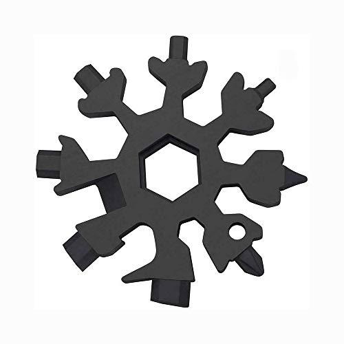 YMSM 18 in 1 Schneeflocke Werkzeugkarte Multifunktionaler Schraubendreher Schraubenschlüssel Edelstahl für Militärbegeisterte Outdoor EDC Tools (schwarz)