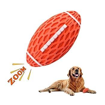 MEKEET Jouet pour chien Balle à mâcher pour chien Jouet couineur Jouet en caoutchouc non toxique résistant aux morsures Balle d'exercice pour chien chiot Balle d'entraînement du QI (orange)