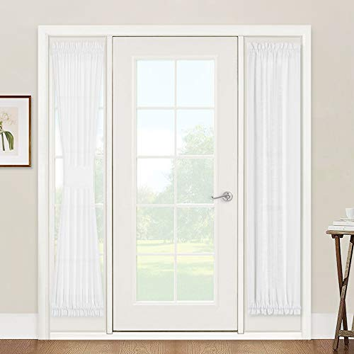 Window Treatments for French Doors  Linen Texture Semi Sheer Privacy Sidelight Panels Glass Door Curtains for Entry Door Front Door Foyer Window Blinds 2 Free Ropes 2 Panels 30quot x 72quot White