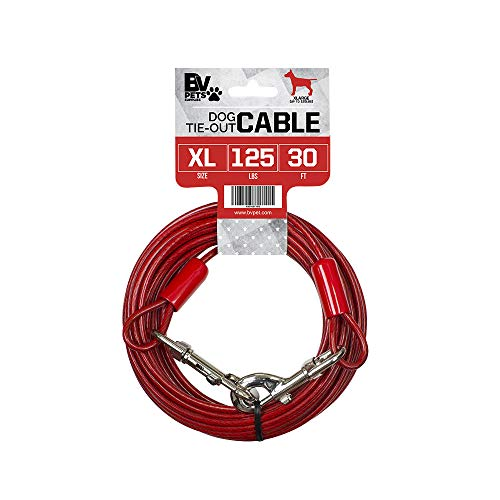 BV Pet Tie Out Cable for Dogs Up to 125 Pounds, 30 Feet (Red/ 125lbs/ 30ft)
