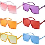Baring 6 Pieces Oversized Square Sunglasses for Women, Retro Trendy Sunglasses for Unisex/Fashion Show/Party Favors