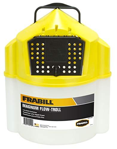Frabill Flow-Troll Magnum Minnow Bucket, 10-Quart, White/Yellow (451200)